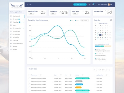 CASR Dashboard task calendar admin dashboad ux ui software saas crm airplane airline aircraft adobe xd