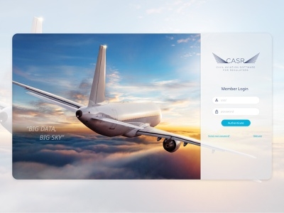 CASR Login Screen splash screen welcome screen sign in login ux dashboad admin ui software saas crm airline airplane aircraft adobe xd
