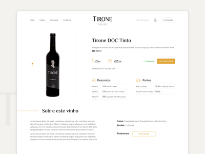 TIRONE wine website product page ecommerce wine adobe xd