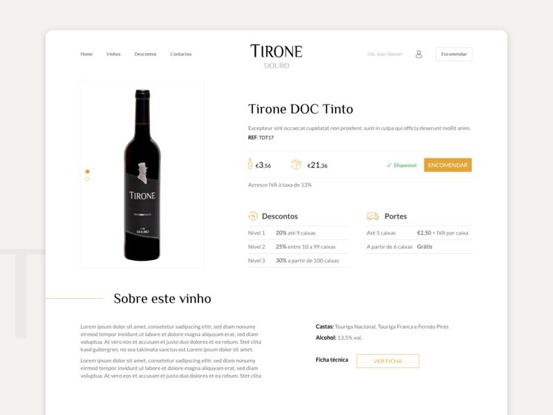 TIRONE wine website product page ecommerce wine adobe xd