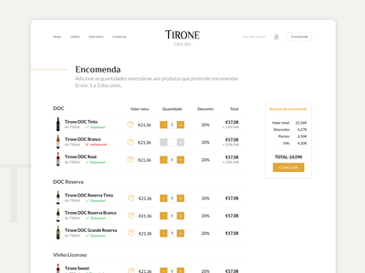 TIRONE wine website checkout no cart ecommerce wine adobe xd ui