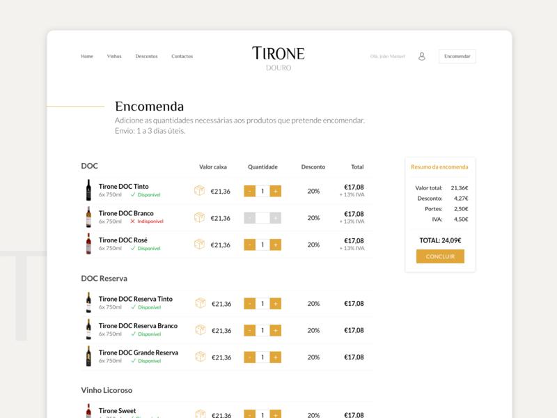 TIRONE wine website checkout no cart ecommerce wine adobe xd ui