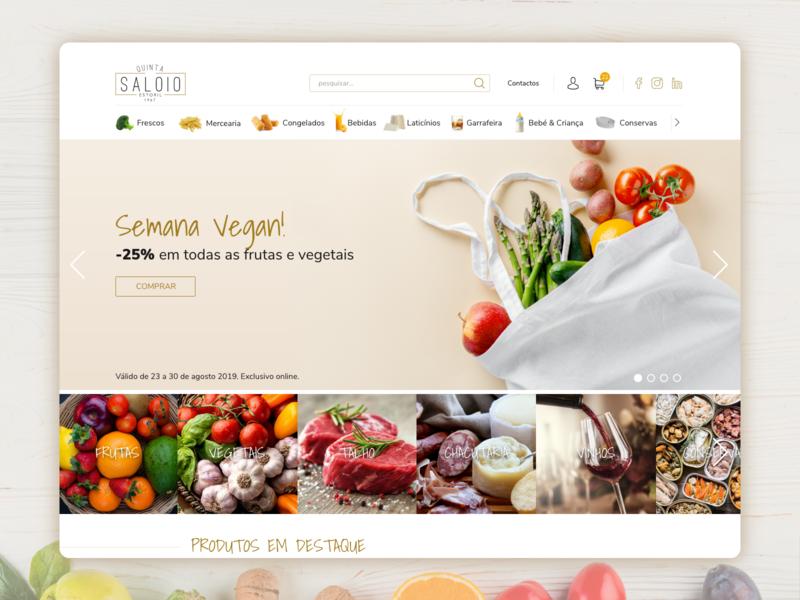 Quinta do Saloio - Home Page gourmet ecommerce supermarket ux adobe xd ui