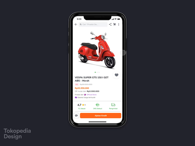 Tokopedia - Vehicle Leasing interaction animation ecommerce leasing bike vehicle tokopedia app ux ui