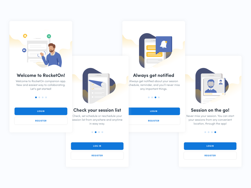 RocketOn App - Onboarding Screens ux ui ios rocketon companion session illustration coaching welcome onboarding brazil app
