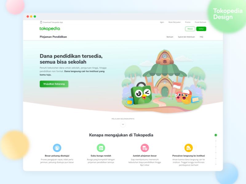 Tokopedia Education Loan - Landing Page ux web design colorful colors design education landingpage website interface illustration app ui