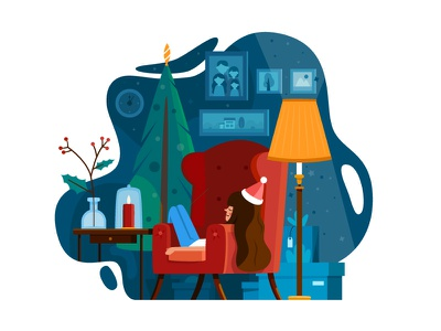 Postcard illustration christmas tree christmas new year character design 2d illustration
