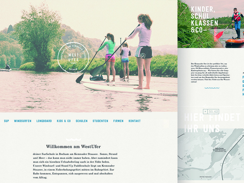 West Ufer Website responsive desktop analog handmade school sup surf webdesign web website