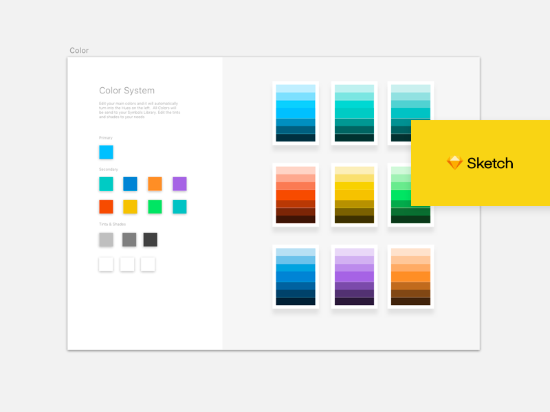 Auto Updating Color System colors designsystem color freebie sketch