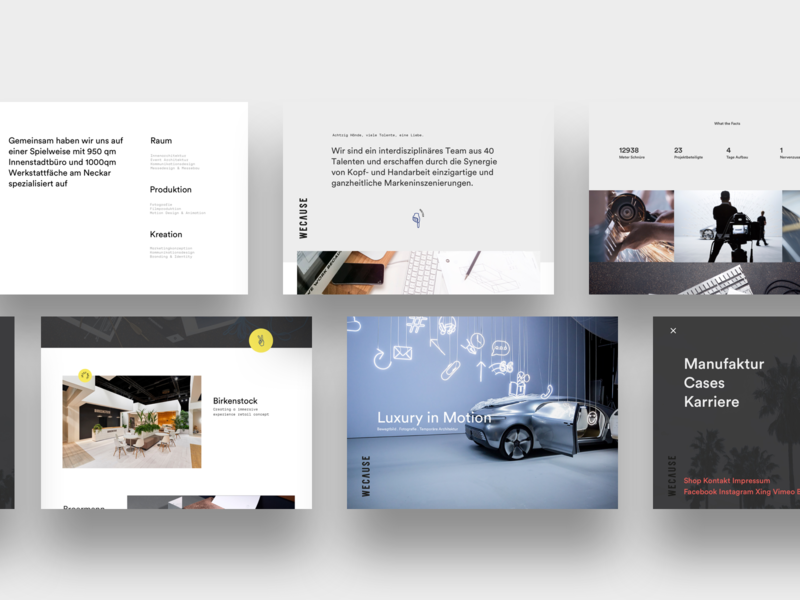 Wecause desktop minimal ux design interface design interface ux ui designstudio agency webdesign website