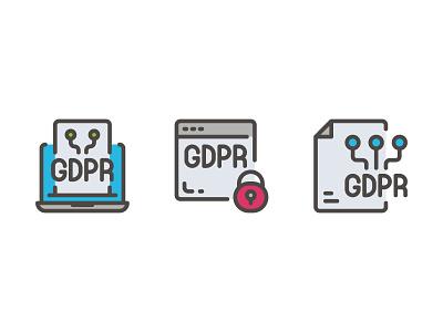 GDPR Data Privacy website vector ui symbol outline line illustration icon app