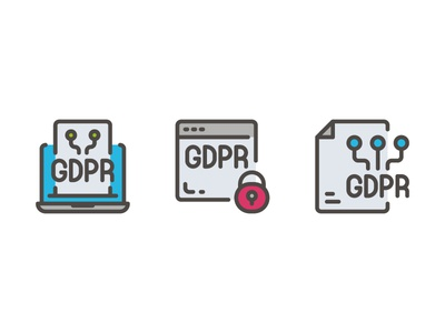 GDPR Data Privacy website vector ui symbol outline line illustration icon app