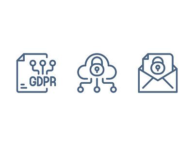 GDPR Data Privacy gdpr website vector ui symbol outline line illustration icon app