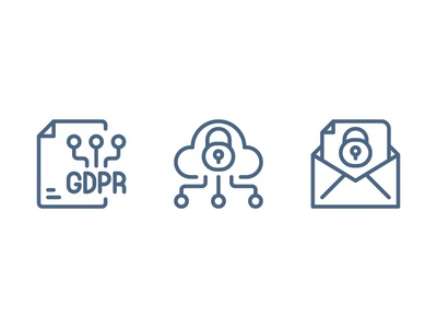 GDPR Data Privacy gdpr website vector ui symbol outline line illustration icon app