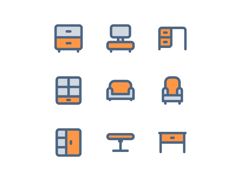 50 Free Furniture and  interior color two tone icons set website vector ui symbol outline line illustration icon app