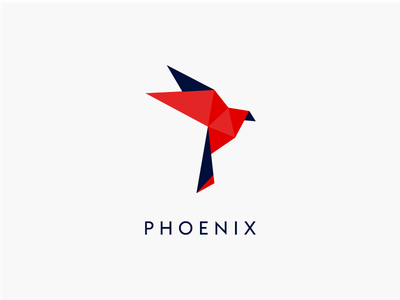 P H O E N I X fire red phoenix logo bird