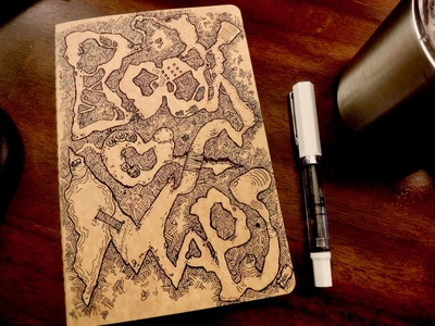 The Book of Maps journal dungeonsanddragons dnd map ink drawing cover art bookofmaps