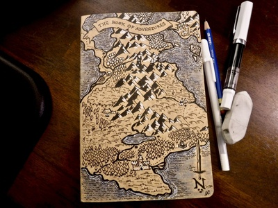 The Book of Adventures gm dm lotr tolkien fantasy map journal cover art adventure dungeons and dragons dnd illustration ink drawing