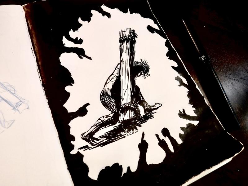 Behold, the man jesus mock satans doom drawing good friday isaiah christ cross easter ink illustration