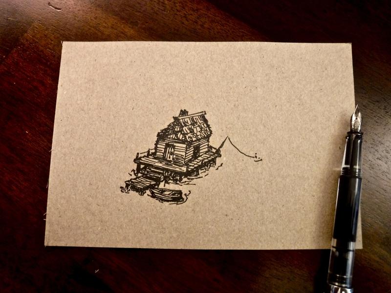 Fishing Shanty Sketch boat fishing cabin shack fountain pen sketch ink drawing illustration