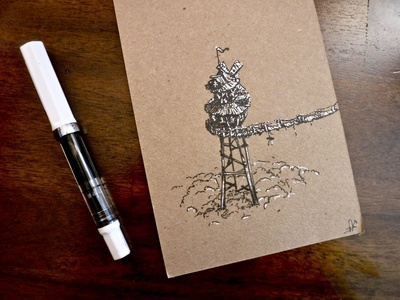 LOOKOUT....tower ink drawing bridge windmill towers treehouse rustic firewatch tower