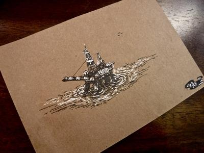 👑Northern Crown - Oil Platform sketch ink illustration petrol cranes drawing ocean drilling petroleum offshore oil platform
