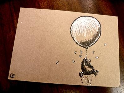 ...a little black rain-cloud, of course.... a.a. milne sketch ink fountain pen drawing illustration bear balloon disney classic e.h. shephard winnie the pooh pooh