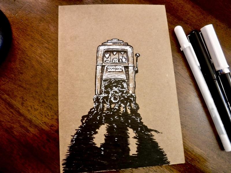 🎰 ...just one more swipe ... ink slot machine consumption misery drawing illustration tiktok instagram twitter facebook socialmedia addiction gambling jackpot casino