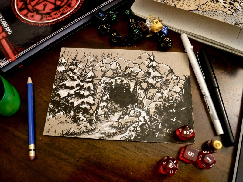 Cragmaw Hideout: Entrance gm dm tabletop ttrpg board game rpg adventure encounter river ink drawing illustration dnd dungeons and dragons landscape hideout cave