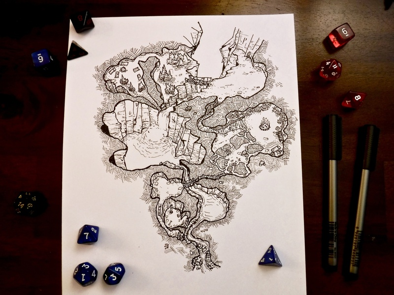 Cragmaw Hideout Alt 1.0 freebie gm dm drawing ink cartography mapping adventure rpg ttrpg board game art dungeons and dragons dnd encounter map cragmaw hideout
