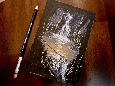 Let me risk a little more light.... ttrpg waterfall underground adventure cave lake cavern encounter dungeons and dragons dnd colored pencil ink illustration