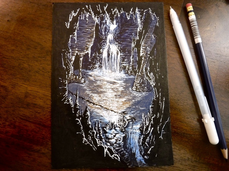 And so...more light vibes lake underground waterfall adventure encounter dungeons and dragons dnd cavern cave illustration drawing ink