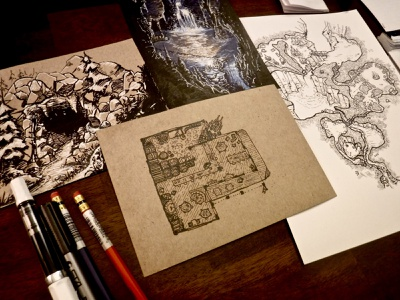 The Dregs and Dross illustration watercolor ink environment dungeons and dragons taproom beer barrels floorplan building map dnd inn tavern