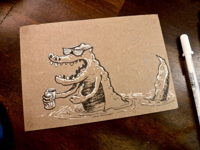 🍺🐊Chill Party Bro-A-Dilla ink illustration character drawing beer bruh party chill bro alligator gator