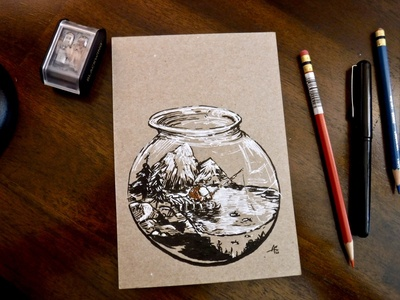 Fisherman Fishing with Fishing-pole in Fishbowl with Fishes fishing rod lonely lenny lake mountains illustration ink drawing fishbowl fish fishing