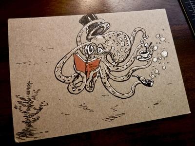 Gentopoda Dapperdillia ink illustration books realism tea sea life pipe dapper tophat drawing octopus gentile