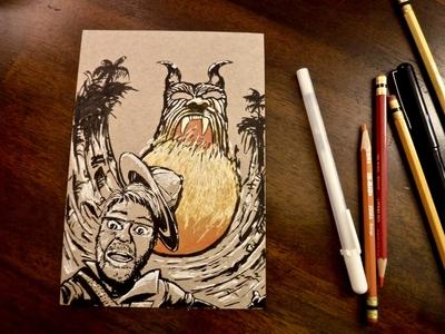 Fireball Island fireball adventure indiana jones jungle safari ink drawing illustration board game fireball island