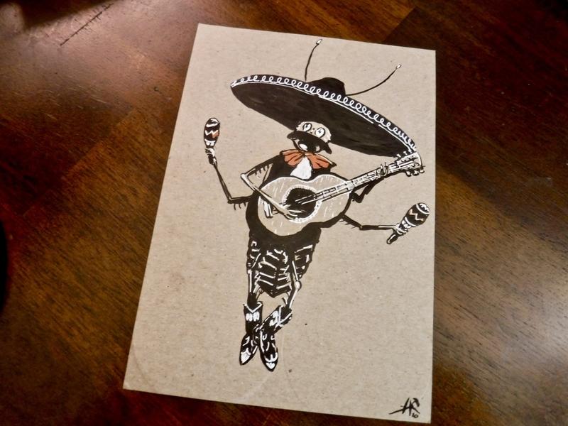 La Cucaracha cartoon sombrero guitar bug character cockroach mariachi drawing ink illustration