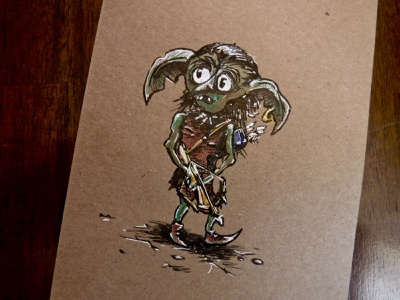 Droop, New Ally of my Heroic Children ttrpg drawing illustration dnd crossbow goblin character dungeons and dragons npc