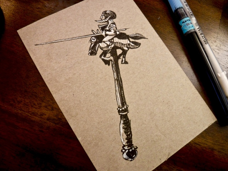 Sir Pokey Pony ink dungeons and dragons jousting illustration drawing weapon dndarmory dnd knight pony