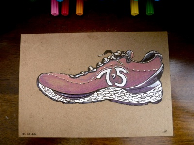 Never Stop drawing ink colored pencils illustration proud running shoe