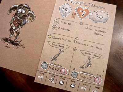 d&d Character Stat Card Idea dndarmory concept character drawing ink illustration goblin stats ttrpg dungeons and dragons dnd