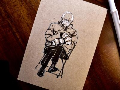 +5 Mittens of Burning dungeonsanddragons dnd illustration bernie ink drawing meme mittens bernie sanders