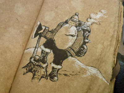 Old Len, in an Old Looking Book rustic stump pipe axe mountain man woodsman character ink drawing illustration