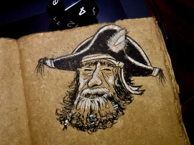Ahoy! Barnacle Billy drifts into ur DMs sketch beard captain pirate character drawing ink illustration