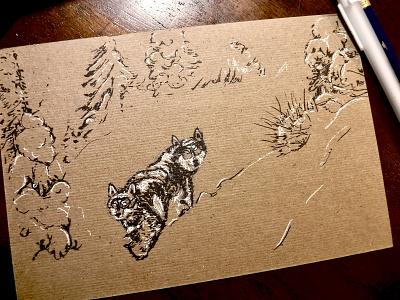 Wolf-dog study. sketch winter animal snow illustration ink drawing dog wolf
