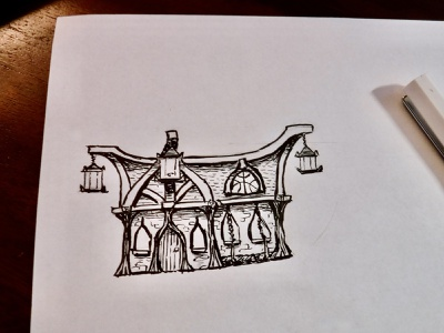 How to draw a house hoa riverwood architecture tavern ink illustration skyrim drawing sketch house