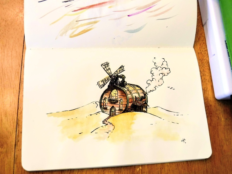 Ultimate Small-Batch Distillery - Colored architecture bourbon barrel concept ink illustration drawing