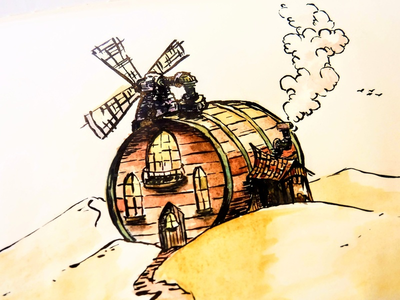 Ultimate Small-Batch Distillery - Detail cabin watercolor architecture distillery barrel concept ink drawing illustration