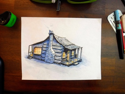 A Cheery Evening shack cheerful cabin colored pencil ink drawing illustration